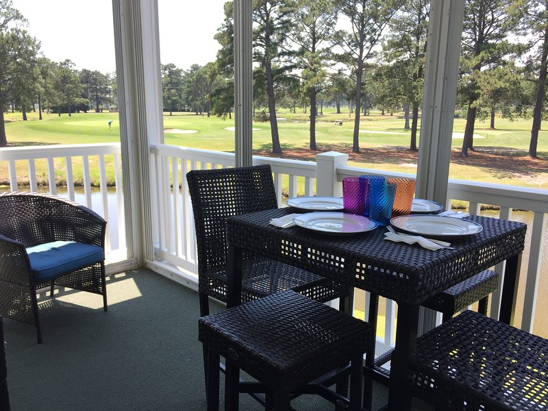 Enjoy a meal or relax on patio while watching golfers and wildlife below in stream.