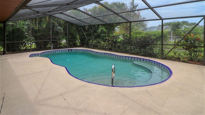 Heated private pool, areca palms provided added privacy.