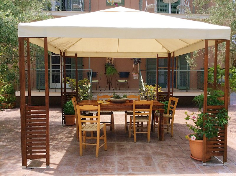 This comfy gazebo will let you spend a good time together with your friends ....