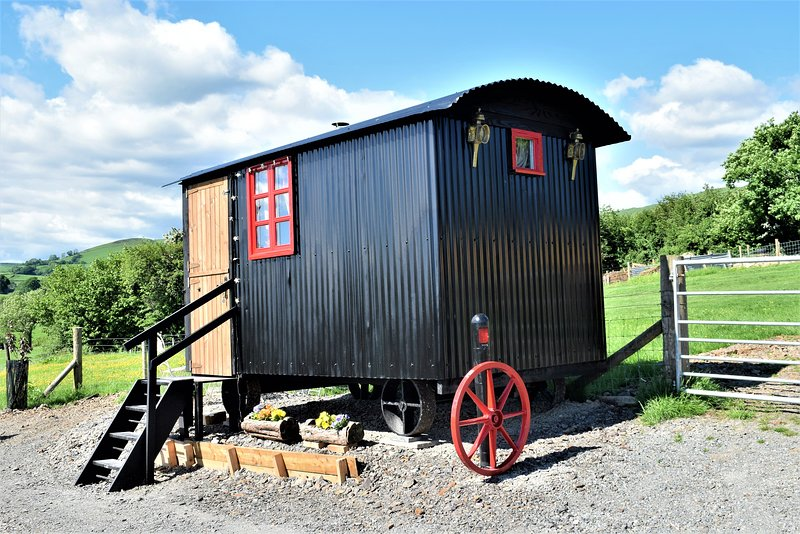 Meadow our shepherds hut sleeps 4 by way of two double beds set as bunk beds.