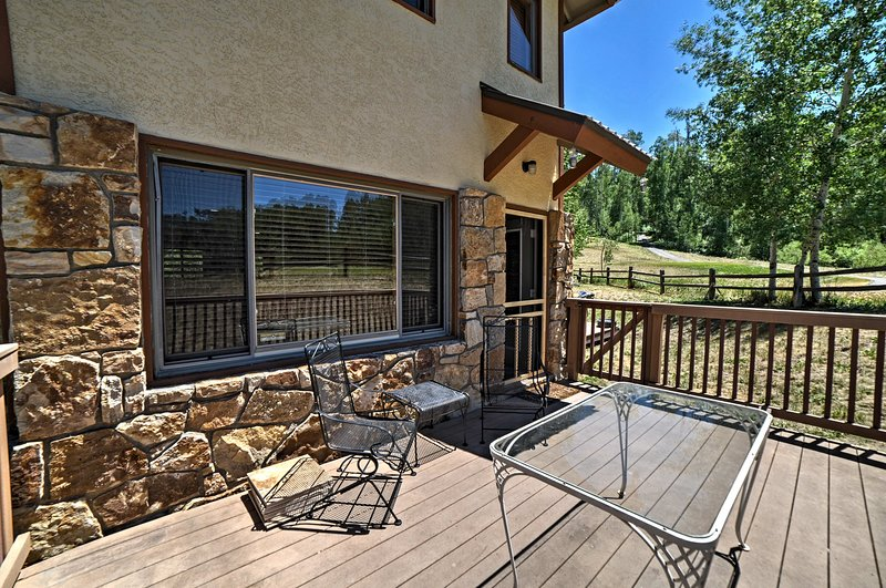 Look out to lush golf course views from your private patio.