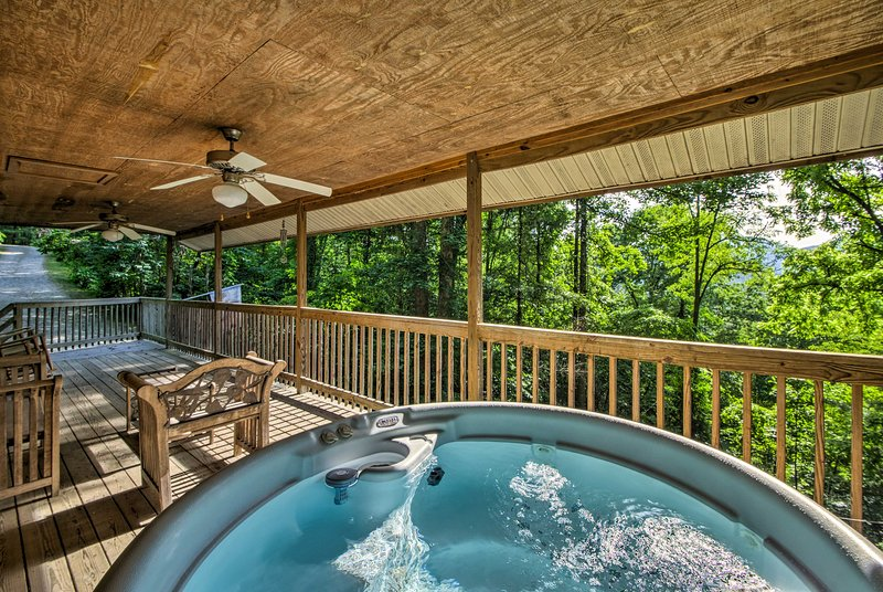 Follow every long hike with a soothing soak in the private hot tub!