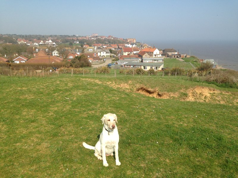 Lizzie and Mundesley from the cliff walk; out for a stroll, and a pint at the Ship Inn on the way!
