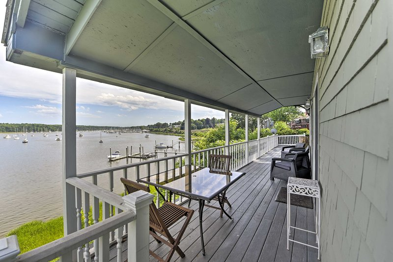 Enjoy endless views of Greenwich Cove from this vacation rental house!