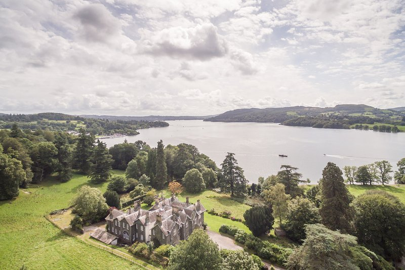 Aerial shot of Wansfell Holme, the gardens and Lake Windermere
