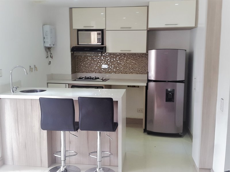 Kitchen with refrigerator, built-in oven, microwave, stove, extractor hood, dishwasher