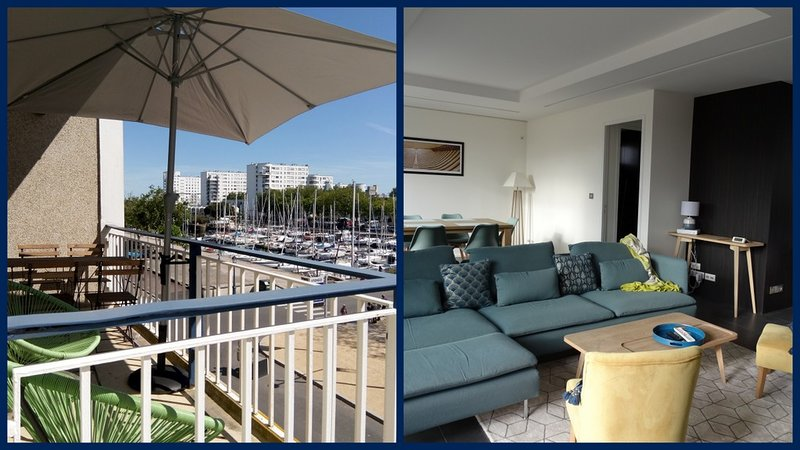 GD APPARTEMENT DE STANDING PLEIN CENTRE TERRASSE VUE PORT garage fermé, holiday rental in Queven
