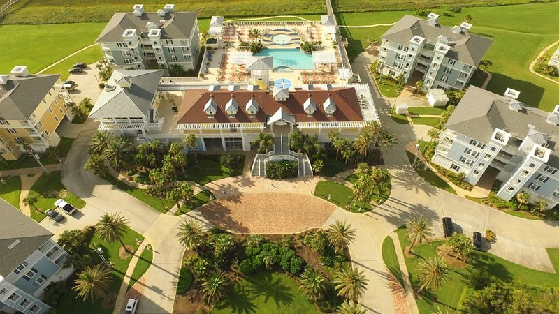 Aerial view - our building is upper right, closest to the Beach and ocean.