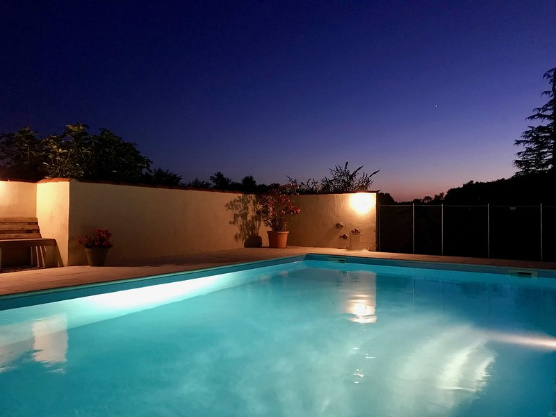 The secluded, heated, salt water pool ready for a midnight dip under a starry sky