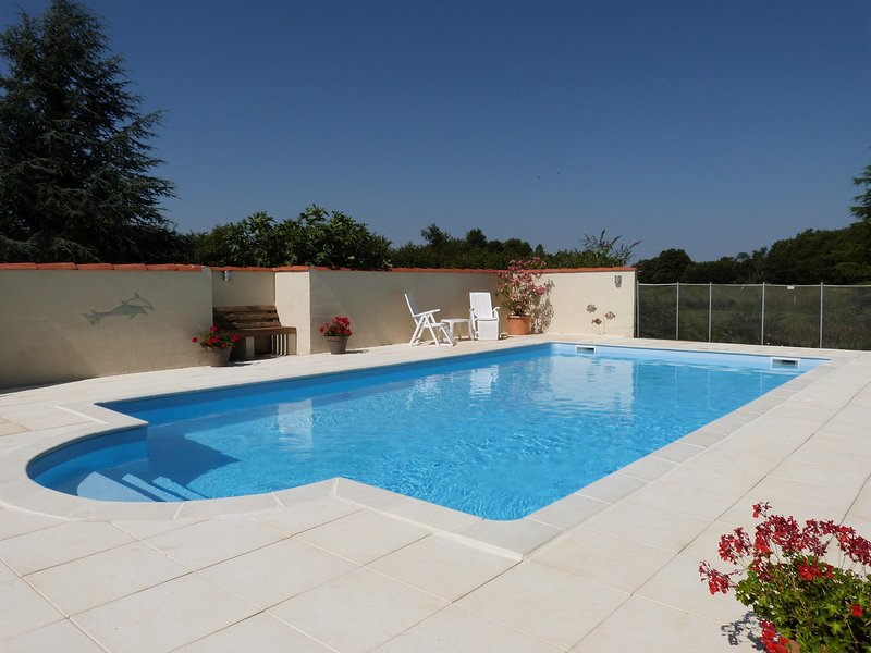The secluded, heated salt water pool offering an excellent sun trap and swimming during the day