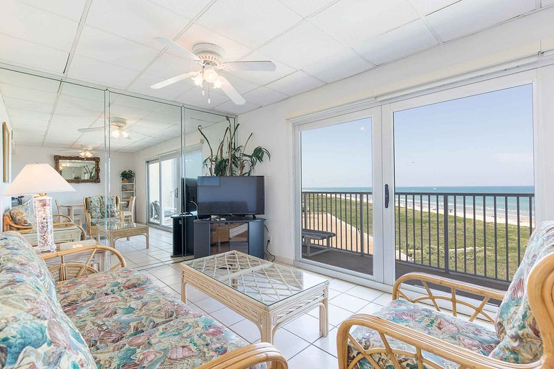 The living area offers an amazing view of the beach!