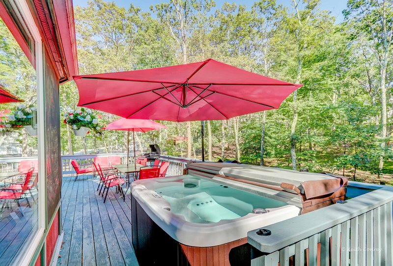 ***Bliss house , Lake,Ski,Hot tub,Sauna 1H30M from NYC , sleeps 22 ppl, holiday rental in Saylorsburg