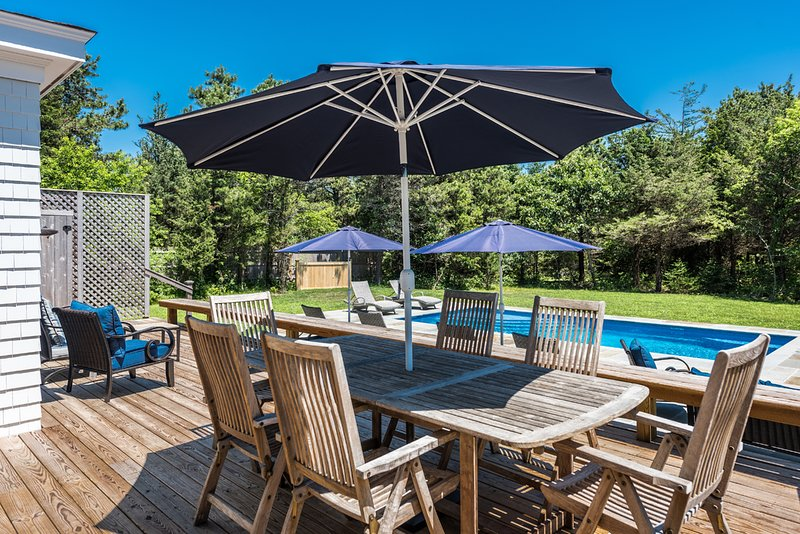 Vacation Retreat,  Heated Pool,  Bluestone Patio, Deck with Patio Dining and Grill Area