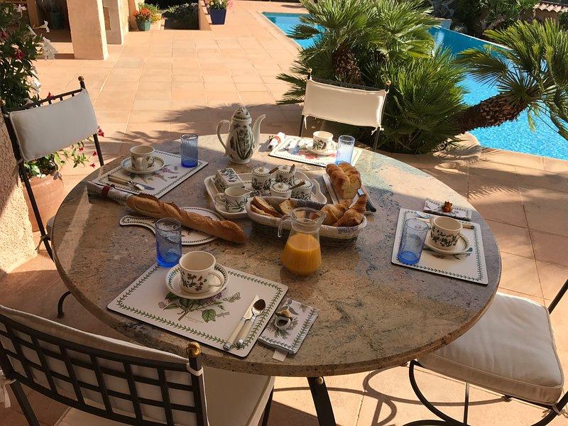 breakfast served on the terrace