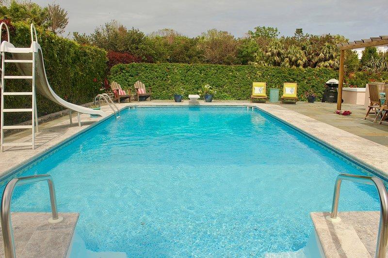 Großer gemeinsamer Pool mit Rutsche und Sprungbrett.