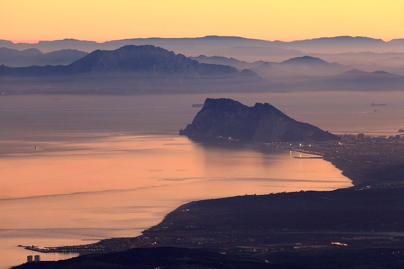 Sunset views to Gibraltar and Africa