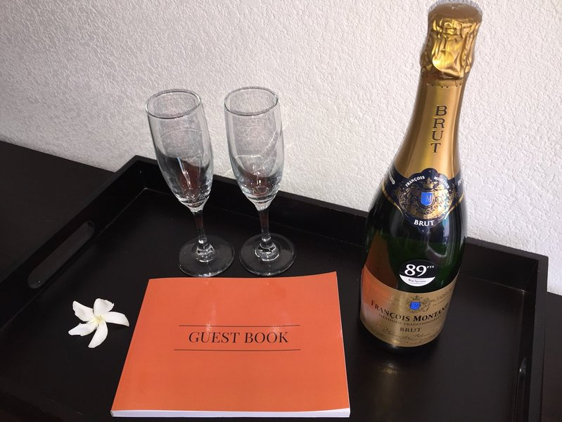 champagne upon arrival