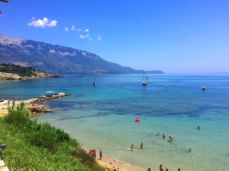 Kefalonia beaches.. Sandy, cute Spartia beach: shallow, warm waters, few rocks around for snorkeling