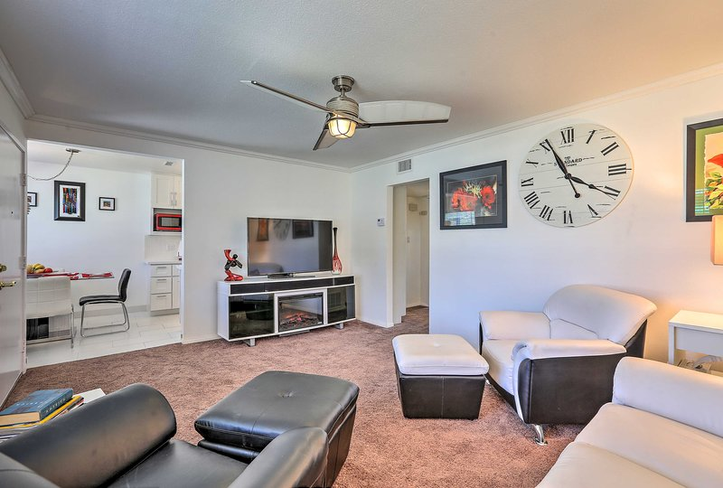 Watch sports on the vacation rental home's flat-screen TV with your party of 4.