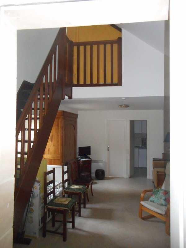 Mezzanine with double bed, cupboard, access by stairs. Possibility of barrier for children