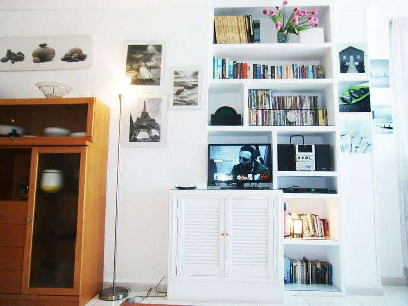 LIBRARY,SMART TV,NETFLIX,SATELLITE TV,DVD,DVD MOVIES,STEREO HI-FI RADIO CD-CDS MUSIC,BOOKS