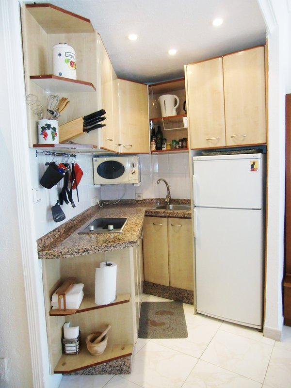 FULLY EQUIPPED KITCHEN,MICROWAVE,TOASTER,COFFEE MAKER,WATER KETTLE-PRESSURE COOKER,GRILL,REFRIGERATO