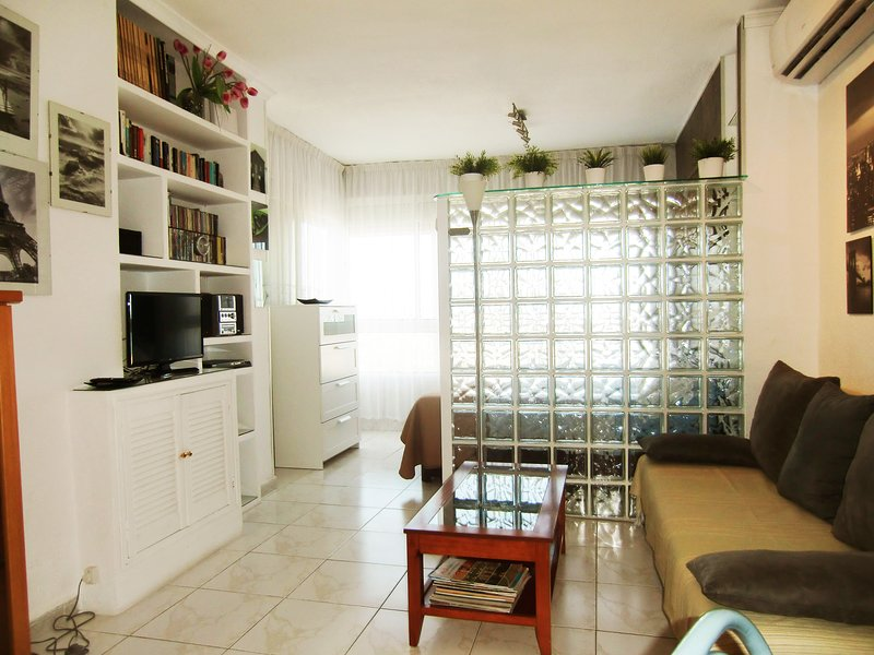 LIVING ROOM, BIG SOFA BED 2 PERSONS,SMART TV.,NETFLIX SATELLITE,SEVERAL BOOKS,TABLE GAMES,STEREO CD.
