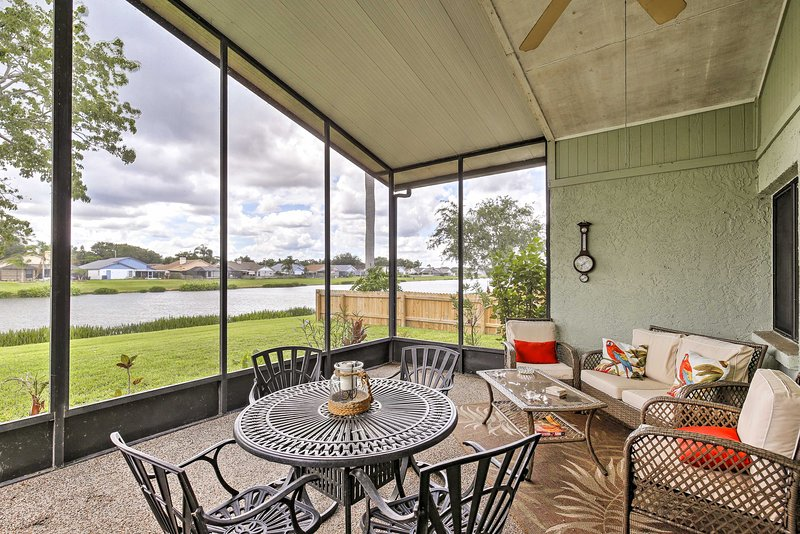 With a lakefront lanai and beds for 8, this home is both luxurious and homey.