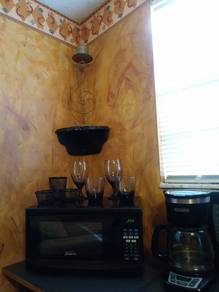 Microwave, coffee maker and basic glassware