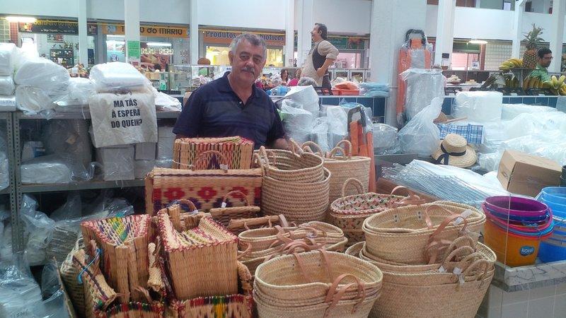 Livramento Market. Seller of baskets.