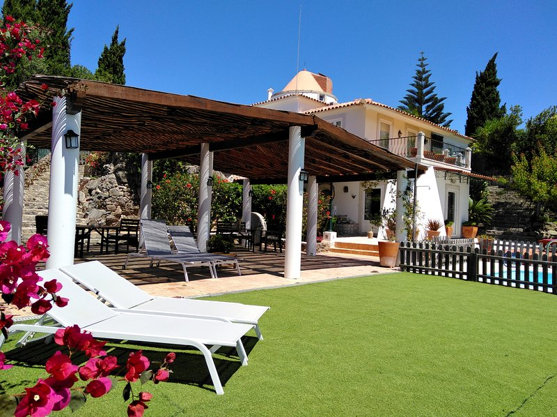 Shared area of ​​artificial grass, covered terrace and pool.