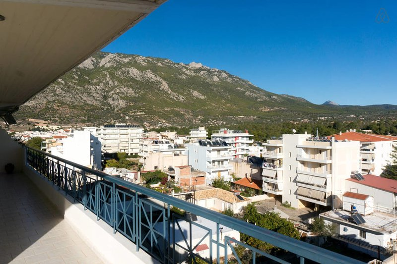 Fantastic view on the NE corner of the apartment of the imposing hillside