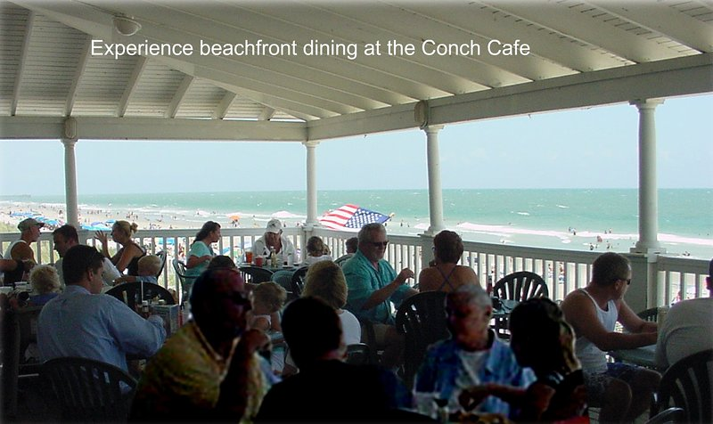 Enjoy oceanfront dining at the Conch Cafe