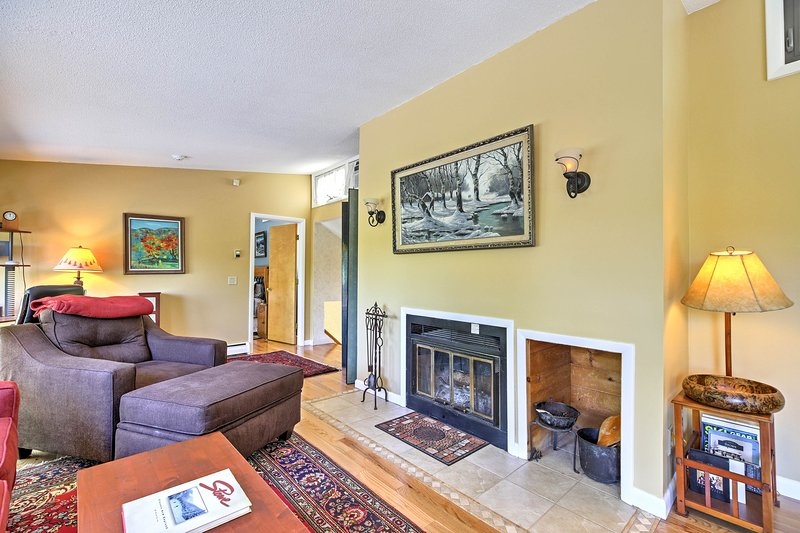 Snuggle with your loved one in front of the wood-burning fireplace.