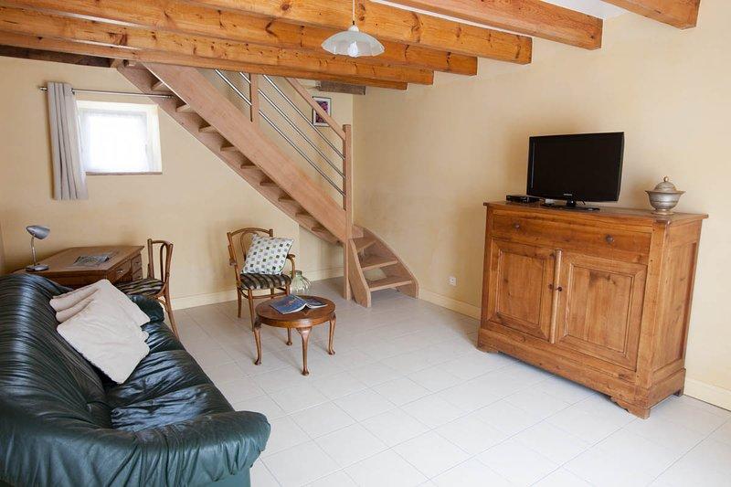 Le salon avec canapé, fauteuil et télévision