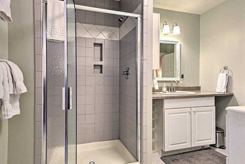 Enjoy a relaxing rinse in the walk-in shower.