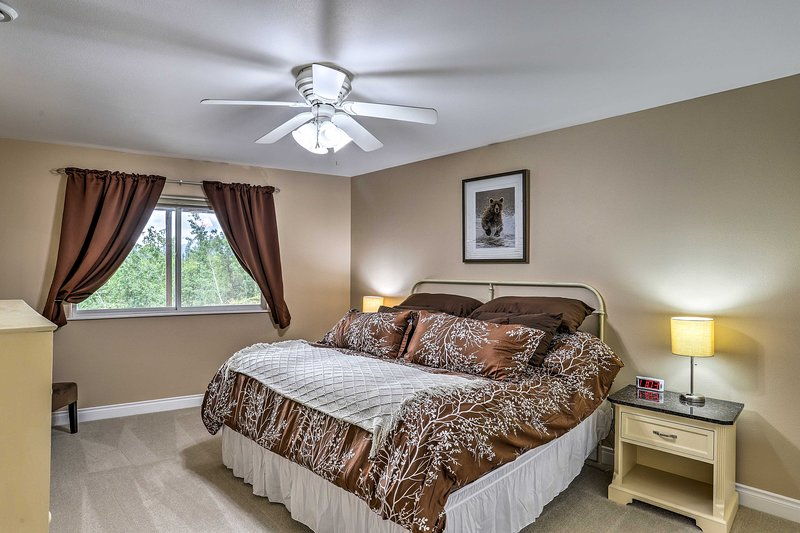 Slip under the covers on the queen bed in the first bedroom.