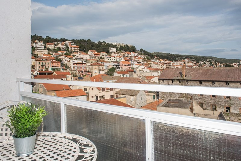 The balcony offers a view to the newly renovated fortress Barone.