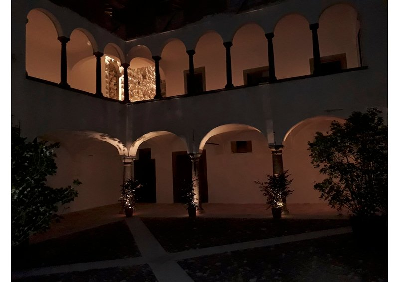 The loggia by night.