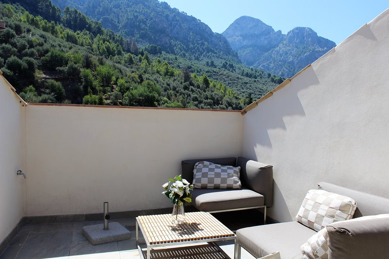 Gorgeous private sun deck, only overlooked by the mountains!