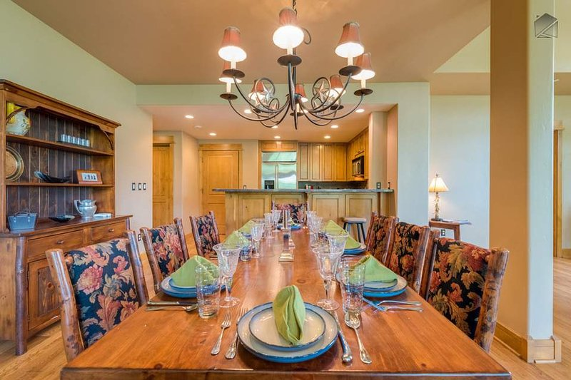 Dine family-style at the large harvest table.