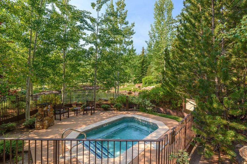 The community hot tub is surrounded by lush Colorado trees.