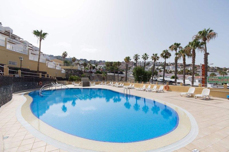 Huge communal pool terrace.