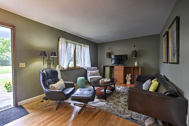 Lounge on cozy living room couches and plug into the wireless internet.