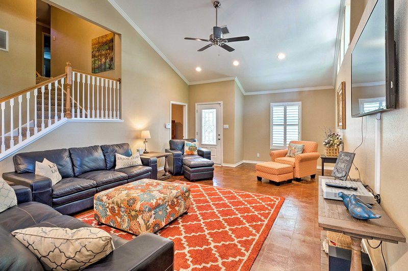 The family room is bright and welcoming.