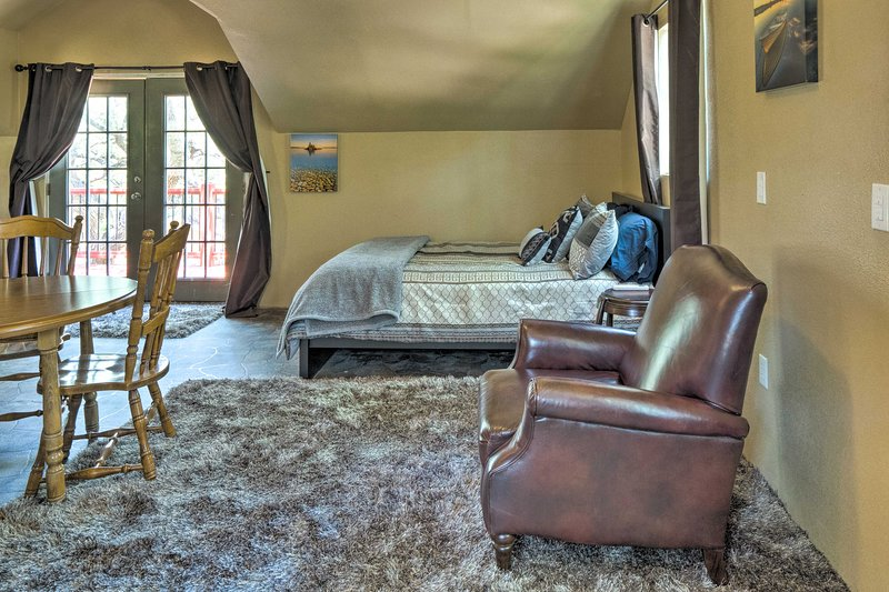 The loft also includes a queen-sized bed.