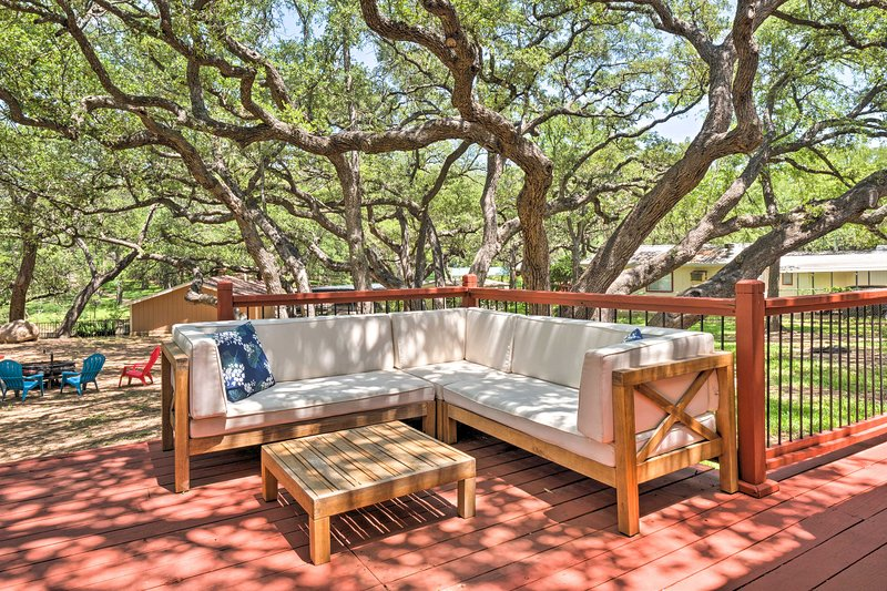 The large yard is a perfect gathering spot for large groups.
