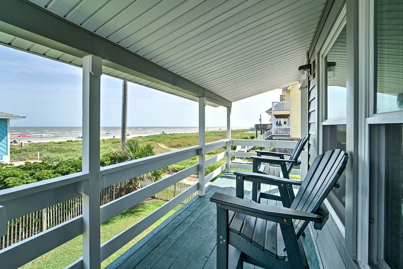 The ideal beach vacation awaits at this Galveston vacation rental house.