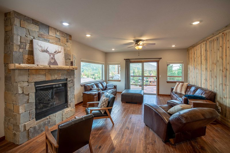Unwind in front of the real-stone gas fireplace.