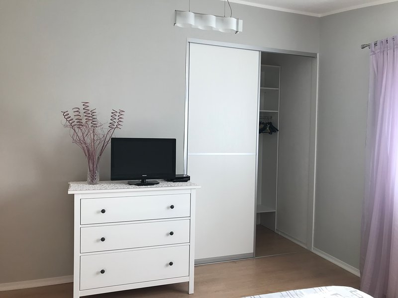 Bedroom, closet and TV